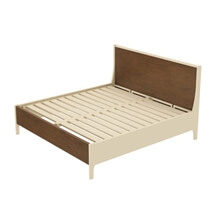 Effingham Two Tone Mahogany Wood Platform Bed With Headboard