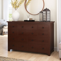 Bradenton Solid Mahogany Wood Bedroom Dresser with 10 Drawers