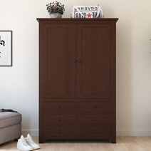 Bradenton Solid Mahogany Wood Large Clothing Armoire with 5 Drawers
