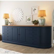 Peshtigo Two Tone Solid Wood 10 Drawer Extra Long Sideboard