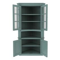 Bremerton Blue Solid Mahogany Wood Glass Door Corner Hutch