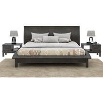 El Dorado Mahogany Wood Gray Platform Bed with Curved Silhouette