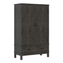 El Dorado Mahogany Wood Gray Wardrobe Armoire with 2 Drawers