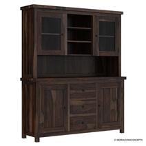 El Paso Rustic Solid Wood Glass Door Dining Room Hutch