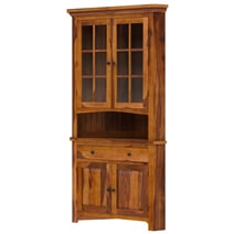 Denison Rustic Solid Wood Glass Door Corner Hutch