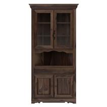 Tiverton Rustic Solid Wood Glass Door Dining Corner Hutch