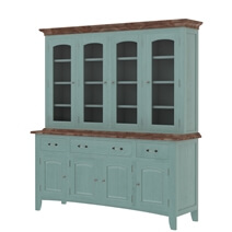 Meriden Mahogany Wood Two-Tone Blue Dining Room Buffet with Hutch