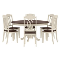 Carrollton Two Tone Mahogany Wood Expandable Dining Table & Chair Set