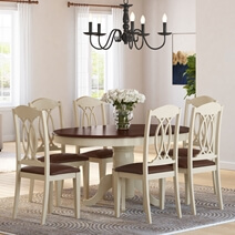 Carrollton Two Tone Mahogany Wood Expandable Dining Table