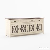 Carrollton Two Tone Mahogany Wood 4 Drawer Extra Long Sideboard