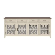 Carrollton Two Tone Mahogany Wood 4 Drawer Extra Long Sideboard