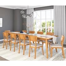Cierra Solid Teak Wood Mid Century Extendable Dining Table & Chair Set