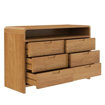 Rebersburg Solid Teak Wood Dresser with 6 Drawers and Open Shelf