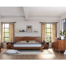 Levi Acacia Wood Rustic 4 Piece Live Edge Bedroom Set