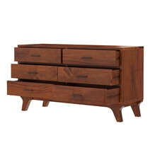 Levi Acacia Solid Wood Bedroom Dresser with 4 Drawers