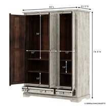 Ojai Distressed Solid Mango Wood Large White Armoire with Shelves