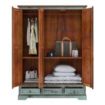 Scranton Ocean Blue Two Tone Farmhouse Solid Wood Large Wardrobe Armoire