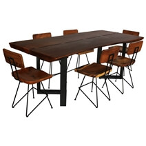 McAllen Suar Wood Live Edge Large Dining Table and 6 Chair Set