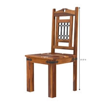 Philadelphia Rustic Solid Wood Dining Chair with Iron Grill Backrest