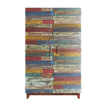 Rainbow Conch Carving Wood Tile Reclaimed Wood Large Wardrobe Armoire