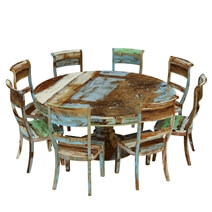 Wilmington Rustic Reclaimed Wood Round Dining Table Chair Set