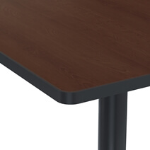 Solid Wood & Iron Single Pedestal Square Restaurant Table
