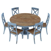 Nauvoo Farmhouse Style Solid Wood Pedestal Round Dining Table & Chair Set