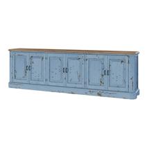 Nauvoo Blue Two Tone Mahogany Wood Extra Long Buffet Sideboard