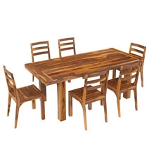 San Mateo Rustic Solid Wood 8 Piece Extension Dining Table Chair Set