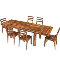 San Mateo Rustic Solid Wood 7 Piece Extension Dining Table Chair Set