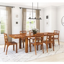San Mateo Rustic Solid Wood Extendable Dining Table