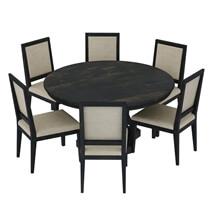 Abingdon Rustic Solid Wood Pedestal 8 Piece Round Dining Room Set