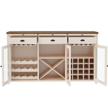 Stowe Two-Tone Solid Wood Large Bar Cabinet with Wine Rack