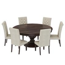 Clanton Rustic Solid Wood Pedestal Base Round Dining Room Set