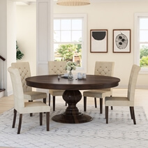Clanton Rustic Solid Wood Pedestal Round Dining Table Chair Set