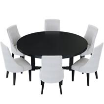 Evanston Rustic Solid Wood 8 Piece Round Dining Room Set