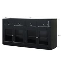 Evanston Rustic Solid Wood Glass Door Black Large Buffet Cabinet