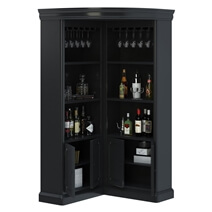Ashon Rustic Solid Wood Tall Corner Bar Cabinet