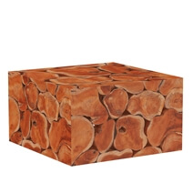 Rodin Solid Teak Wood Root Slice Square Coffee Table