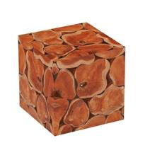 Rodin Solid Teak Wood Root Slice Square Stool Set