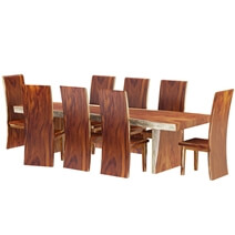 Auburn Solid Wood Single Slab Live Edge Dining Table and 8 Chair Set