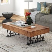 Choloma Rustic Rail Wood Block Iron Industrial Coffee Table