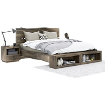 Ambler Solid Mahogany Wood Live Edge Style 4 Piece Bedroom Set