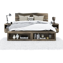 Ambler Solid Mahogany Wood Live Edge Style Platform Bed with Bookcase