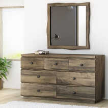 Ambler Mahogany Wood Live Edge Style Dresser with 7 Drawers