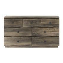 Ambler Mahogany Wood Live Edge Style Dresser with 7 Drawers