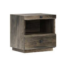 Ambler Mahogany Wood Live Edge Style Nightstand with 1 Drawer
