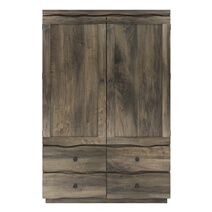 Ambler Mahogany Wood Live Edge Style Large Clothing Armoire Wardrobe
