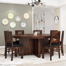 Algona Round Rustic Solid Wood Dining Table Chair Set