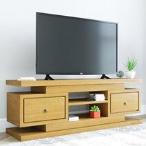 Kingston Teak Wood 2 Drawer Open Large TV Stand Media Console